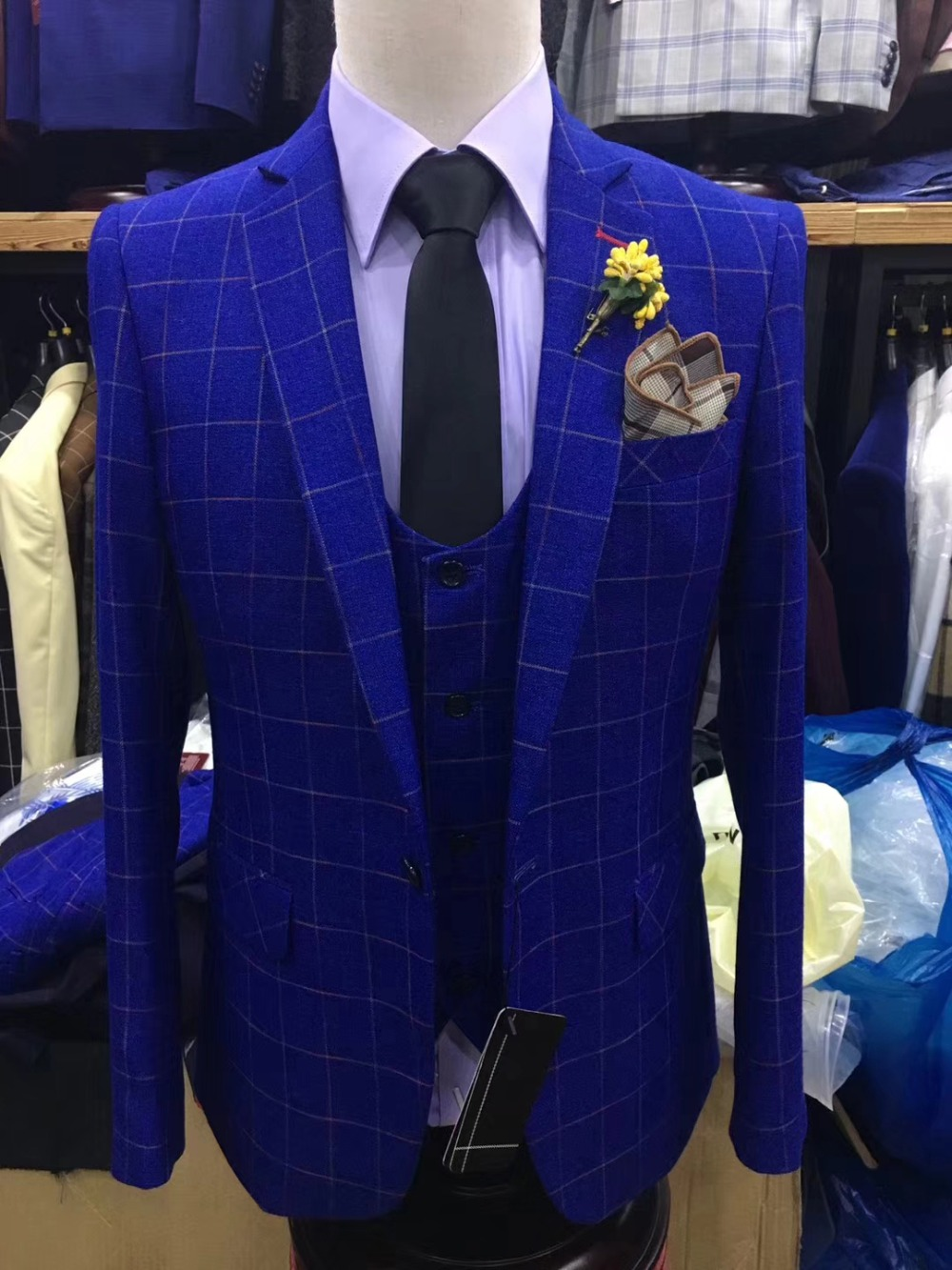Slim Fit Royal Blue Wedding Suits For Men Classic Business Plaid Tuxedos Groom Formal Party Prom Men Suits Ternos Masculino 3PCS