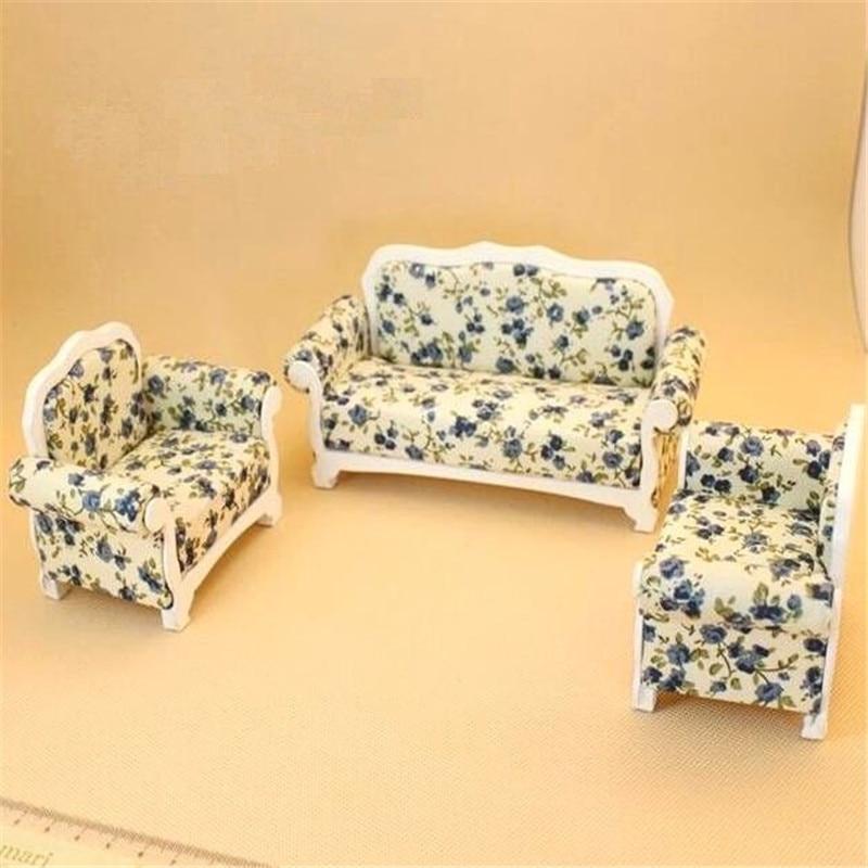 1:12 Dollhouse Miniature Doll Furniture Sofas Blue Floral Couch Chair 3Pcs Set1:12 Dollhouse Miniature Doll Furniture Sofas Blue Floral Couch Chair 3Pcs Set