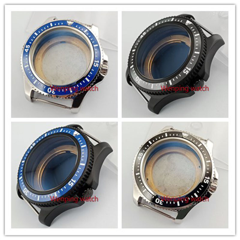 44MM BLIGER 316L Stainless Steel Watch Case Black Ceramic Bezel Fit ETA 2836 MIYOTA 8215 821A