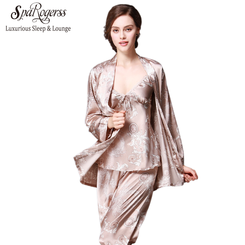 SpaRogerss New Women Luxury   Pajama     Sets   2018 Brand Fashion 3 Pcs   Pajama   Long Pants   Set   Female   Pajamas   Faux Silk Home Suit YT013