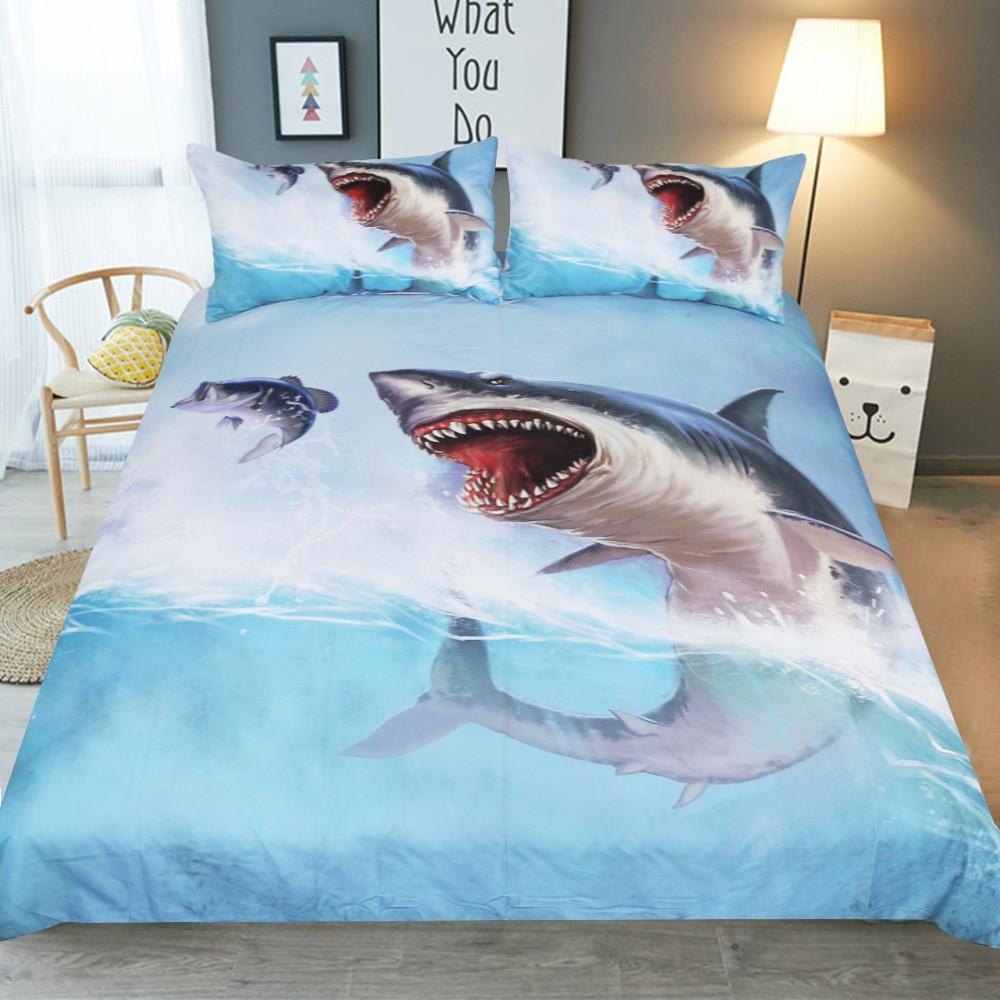 Ensemble de trois pièces de 1.8/2 m double draps de couette bleu à la maison surdimensionné doux vue sur la mer thème hôtel literie 3D requin d'eau de mer