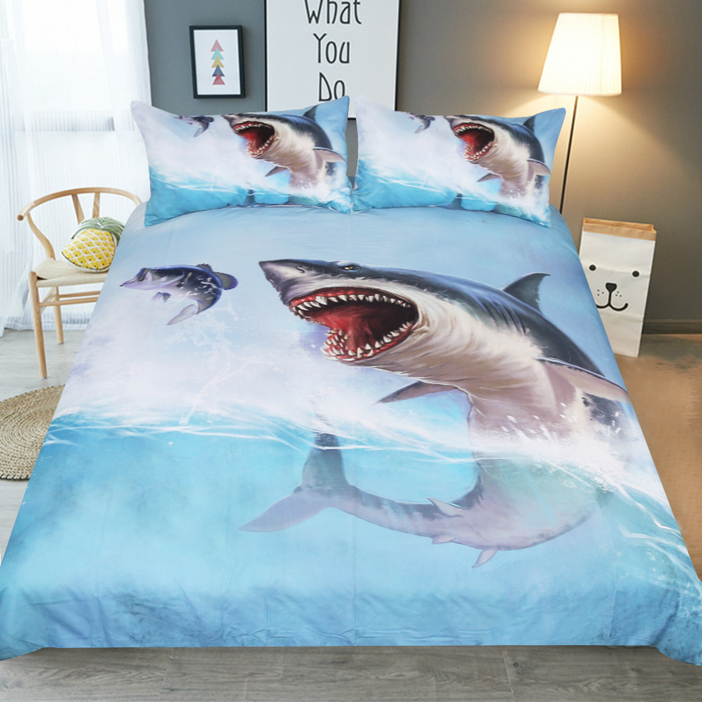 Three-piece set of 1.8/2m home spinning double blue quilt sheets oversized soft sea View theme hotel Bedding 3D Seawater sharkThree-piece set of 1.8/2m home spinning double blue quilt sheets oversized soft sea View theme hotel Bedding 3D Seawater shark