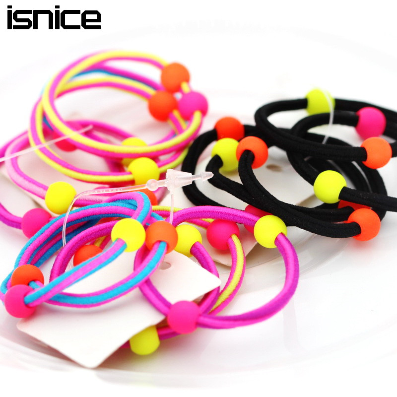 isnice Little Girl Cute ball Headwear Rainbow Color Gum For Hair Rubber bands Small hair accessories gum girl ornaments new 2pcs 3 durable artificial gum rubber swivel wheels caster industrial castor univeral wheel silence heavy casters