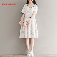 Korean Summer art small fresh round collar with puff sleeve tree print dress L1548