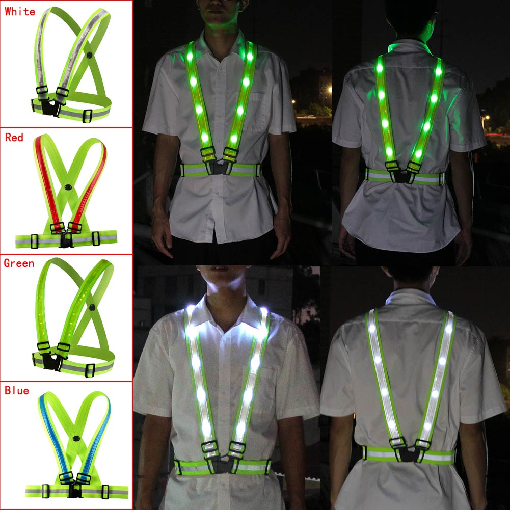 Adjustable USB Rechargeable LED Reflective Belt Vest For Running Cycling Luminous At Night To Protect Your Safety Security Green