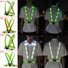 USB แบบชาร์จไฟได้ LED เข็มขัดสะท้อนแสงสำหรับวิ่งขี่จักรยานในเวลากลางคืนของคุณความปลอดภัยสีเขียว