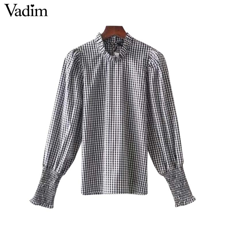 afe61288989300 Vadim women sweet ruffled collar plaid shirts side split long sleeve  pleated blouse ladies spring chic