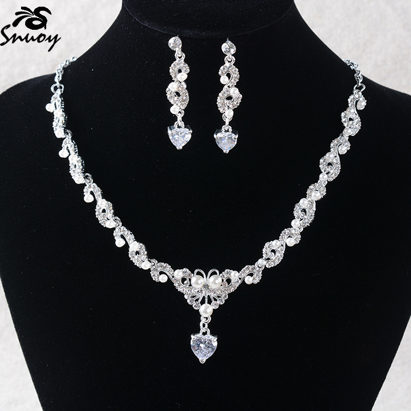 Snuoy Jewelry Sets Silver Rhinestone Necklace and Earrings For Women Butterfly Type European Wedding Bridal Jewelery