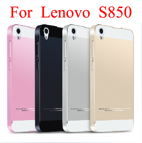 best service 6f81e 2226f US $4.68 15% OFF|S850 Luxury Ultra thin Aluminum Metal+ Acrylic Back Cover  Case for Lenovo S850 S850T Phone bags-in Half-wrapped Cases from Cellphones  ...