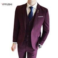 Jacket Vest Pants Men Suit Latest Designs Wine Red Grey Black Navy Suits 3 Pieces
