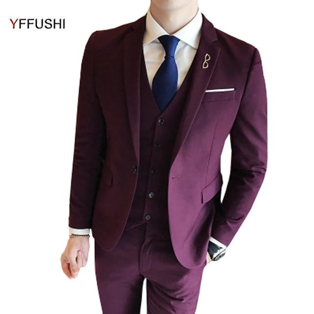 YFFUSHI Men Suit Latest Designs Wine Red Grey Black Navy Suits 3 ...