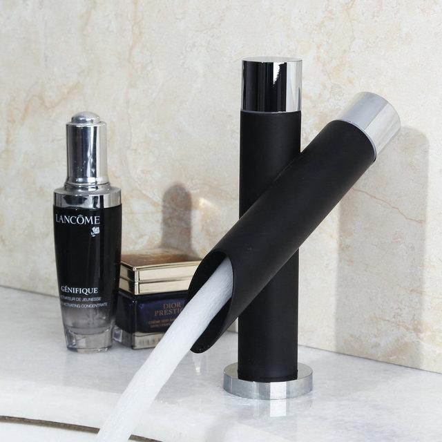 Monite Painting Basin Faucet Bathroom Black Faucet Painting Finish Basin Sink Tap Mixer Hot & Cold Water Faucet Dual Handles