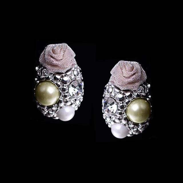 Whole Silver Jewellery Clip On Earrings Crystal Rhinestone Lace Rose Statement Pearls