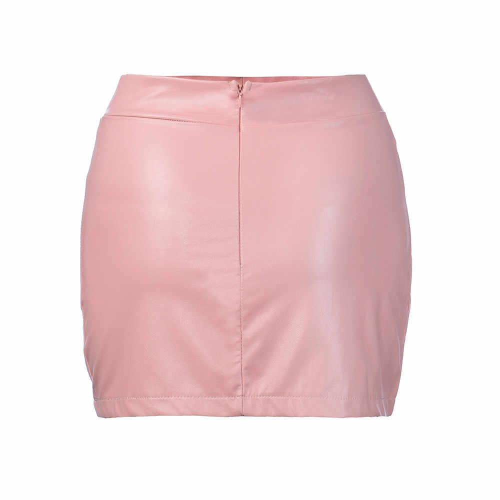 寝台 #401 2018 新ファッション女性セクシーな Bandge 革ハイウエスト鉛筆ボディコンヒップショートミニスカートセクシーなホット送料無料