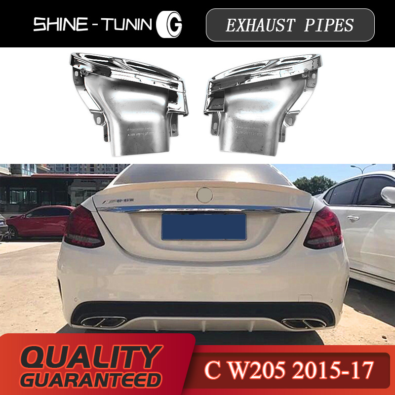 US $125 0 |exhaust pipes tail tips E coupe C43 2015 2016 2017 C Class W205  C200/C250/C300/C450 GLC43 450 X253 W253 GLE450 gle43 w212 c207-in Mufflers