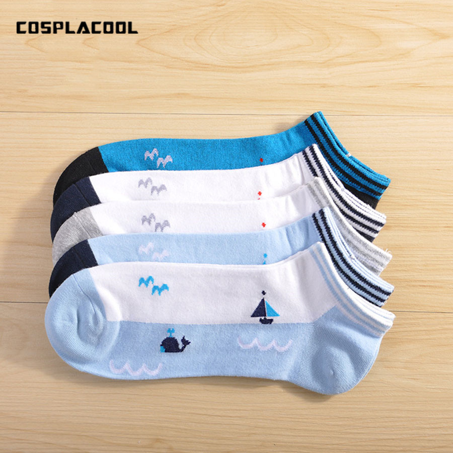 [COSPLACOOL] 5pairs Brand Socks Men Fashion Trend Meias Ocean Style Whale Sailboat Print Cotton Boat Socks Calcetines De Hombre