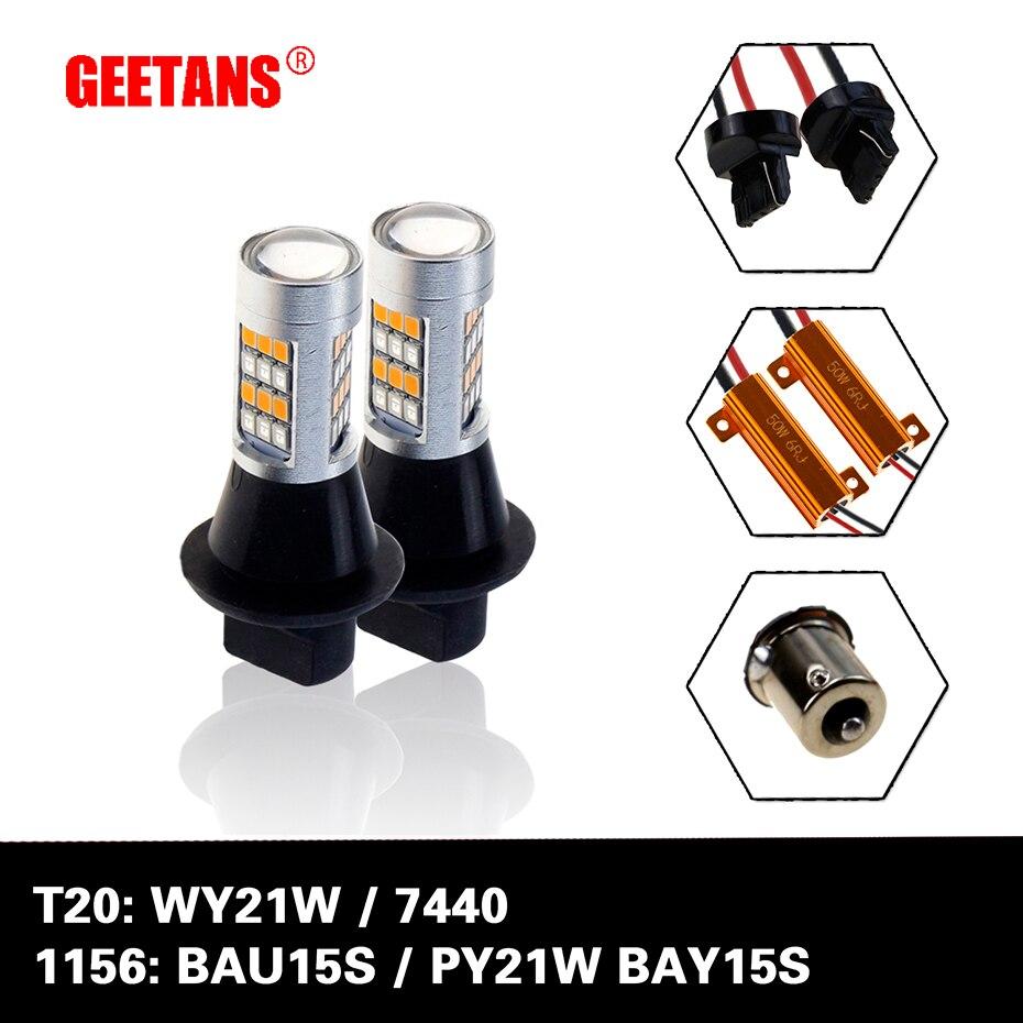 Geetans 2 قطعةالوحدة T20 7440 7443 S25 Bau15s 1156 42 مصباح ليد المتعرج الصمام بدوره أضواء الإشارة Drl لمبات J في مجموعة مصابيح السيارة من السيارات