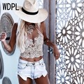 2017 Hot Sexy Lace Apliques Top Colheita Para As Mulheres Halter Backless Zipper Cropped Feminino Saia Jogo Fashion Parte Superior Do Tanque