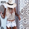 2017 Hot Sexy Lace Appliques Crop Top For Women Halter Backless Zipper Cropped Feminino Match Skirt Fashion Tank Top
