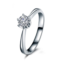 100% Real Diamond Ring For Bridal Solid 14K White Gold 6 Prongs Setting Classic Style Fine Jewerly 0.17carat