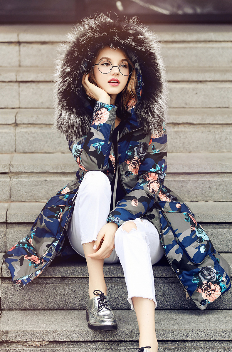 Women ukraine Large fur collar   down     coat   jacket female winter 2017 puffer parkas with real fur hoodie flower flora printed xl