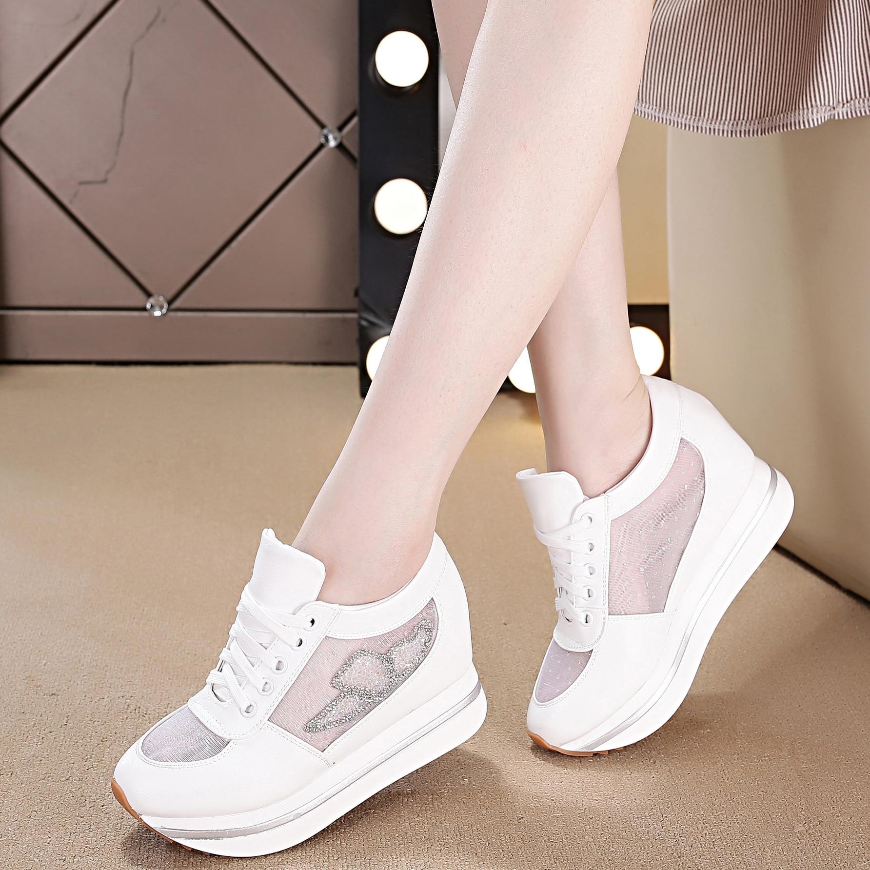 Talons Femme Qualité blanc Haute Pu Strass Mode Nouvelle Dans Augmentation 2018 Respirante Chaussures Des Sneakers Maille Rose Casual Hauts Femmes 8Cnq7