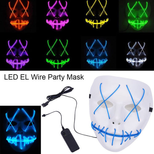 New Halloween Scary Mask Cosplay Led Costume Mask EL Wire Light Up The Purge Movie Glowing mask image