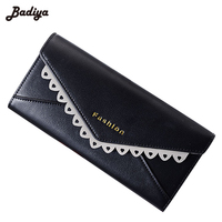 Ultra Thin New Trifold Fashion Women Clutch Lace Wallets Long Clutch For Woman Solid PU Leather