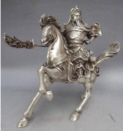 CHINESE COLLECTABLE SILVER COPPER WARRIOR GOD GUAN YU & HORSE STATUE ZRF brass copper famous three kingdoms guan ping zhou cang guan gong warrior god set