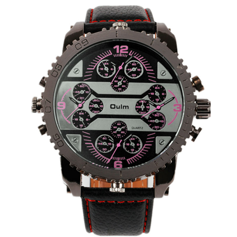 2018 hot 4 time zone special multifunction army big head leather strap japan quartz movement oulm 3233 sports men military watch