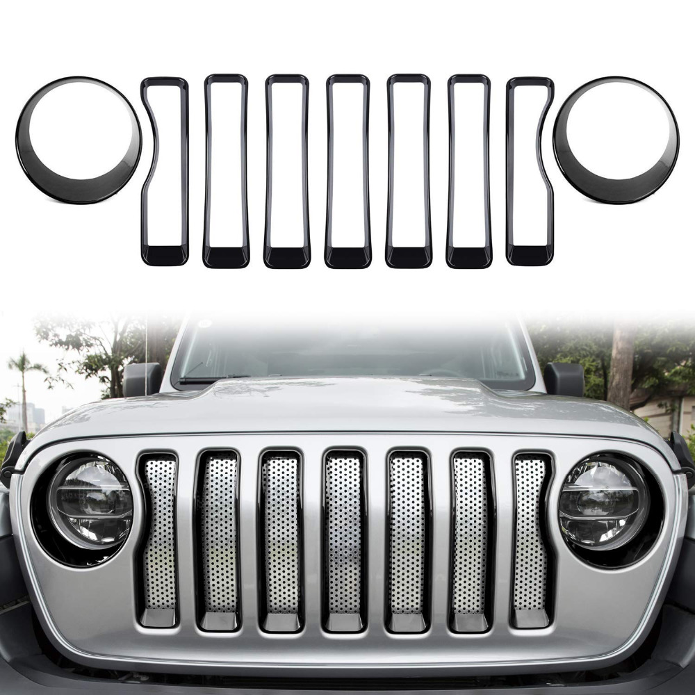 ChuangQian 9Pcs Front Grille Trim Inserts Grill Cover Headlight Turn Light Cover for 2018 2019 Jeep