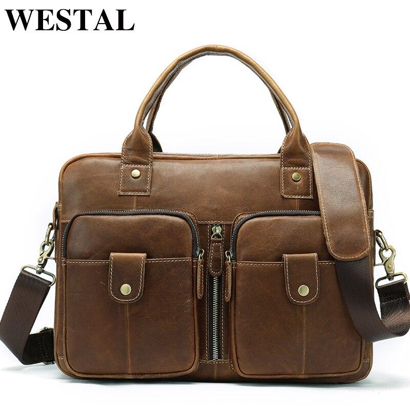 WESTAL кожаные сумки компьютер для Для мужчин Сумка портфели для ноутбуков Сумка Для мужчин Сумки из кожи для Docu Для мужчин ts мужской портфели