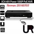 8CH Onvif Full HD 1080 P 48 V Autônomo de Rede PoE IEEE802.3af Gravador de vídeo para Câmeras IP PoE com Goolink P2P Nuvem serviço