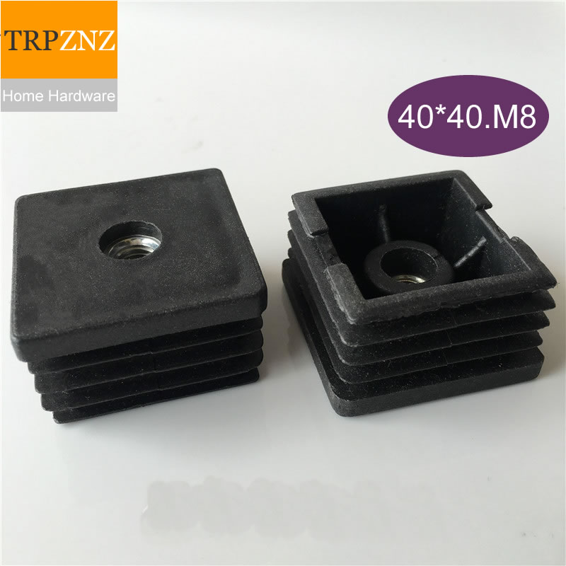 40*40mm*M8,Black Square Tube Plug, With Screws, Adjustable,plastic Plug,Non-slip, Table Chair  Foot Pad, Furniture Foot Support