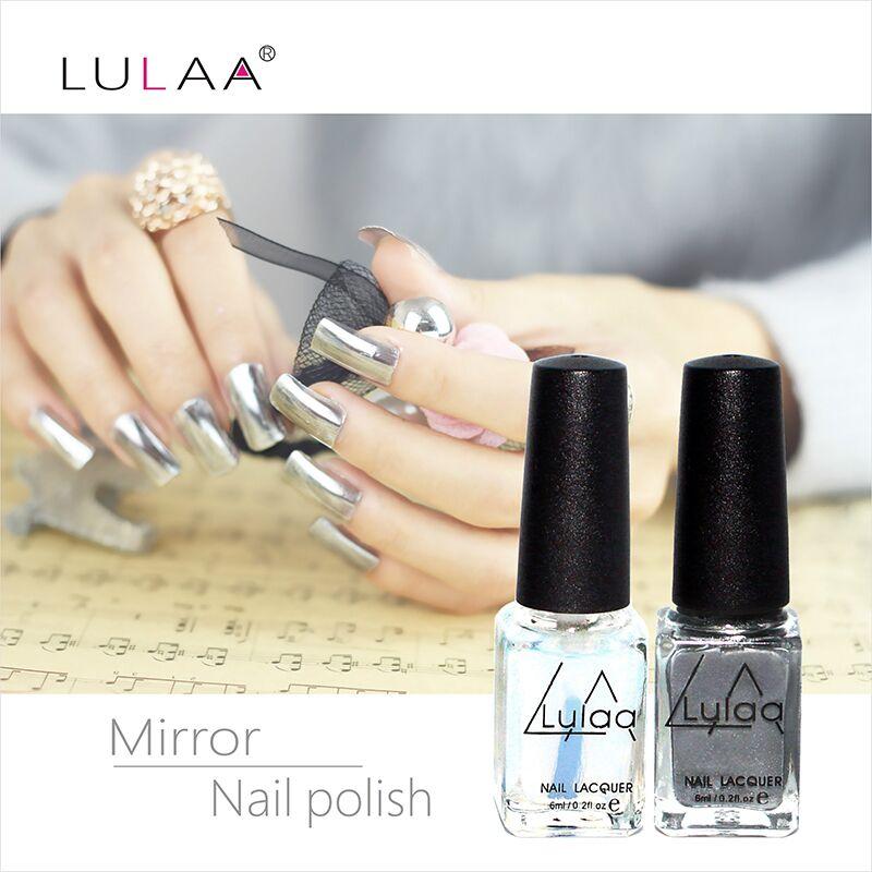 2pc/ 6ml Behind Silver Mirror Effect Metal Nail Polish