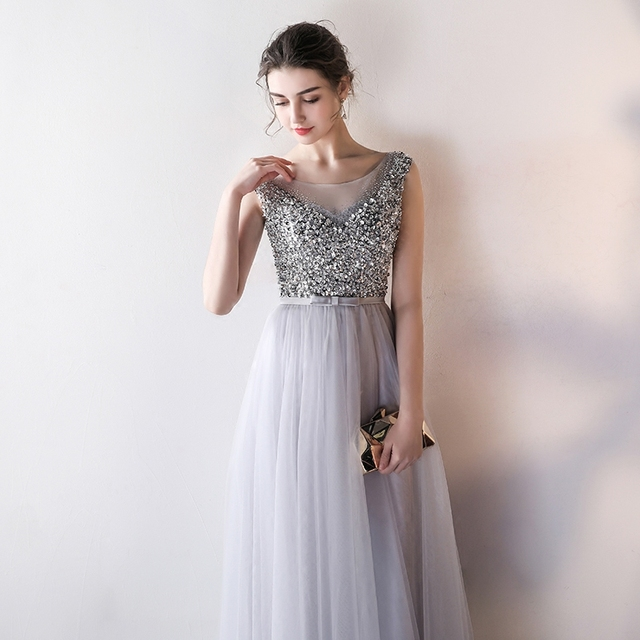 LAMYA Sexy O Neck Bling Beading A Line Prom Dresses Princess Evening Party Dress Elegant Crystal Gowns robe de soiree 2
