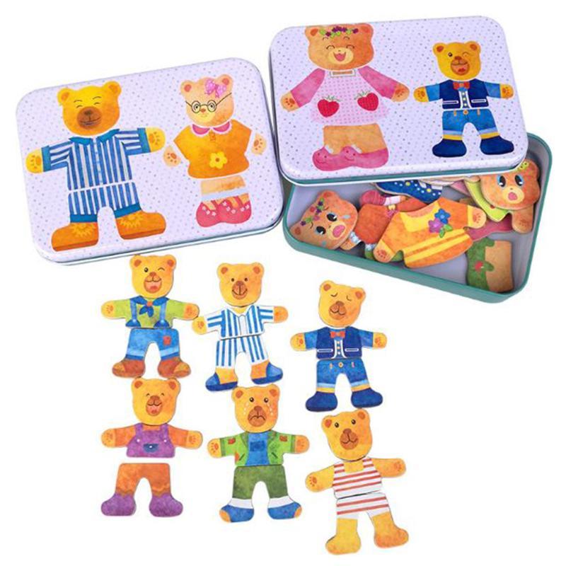 Magnétique Ours Famille Fer Boîte Chang Vêtements En Bois Jigsaw Puzzle Montessori Enfants Enfants Jouet Éducatif Robe Modification Puzzles