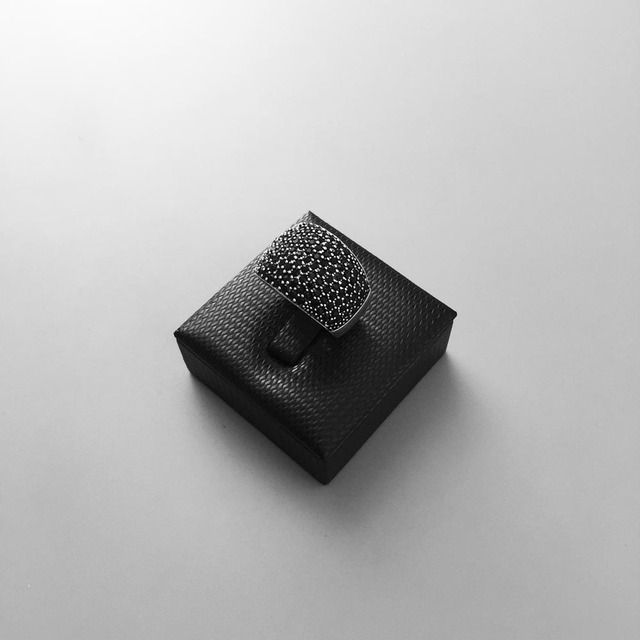 Black CZ Pave Wide 925 Sterling Silver Ring For Women & Men