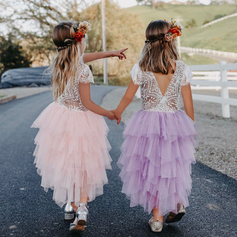 Summer Girls Dress 2019 Girls Clothes Princess Party Dress Backless Lace Tutu Layered Dress Elegant Ceremony Teenage Costume
