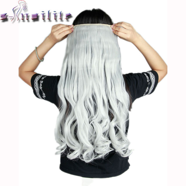 S Noilite 24inches Silver Gray Curly Clip In Half Full Head Hair