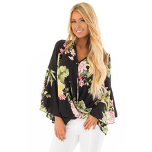 Summer 2019 Floral Printed Asymmetric Blouse Shirt Women  Long Flare Sleeve Casual Shirt Sexy V-Neck Ruffles Shirts Tops attractive floral printed v neck long sleeve blouse for women