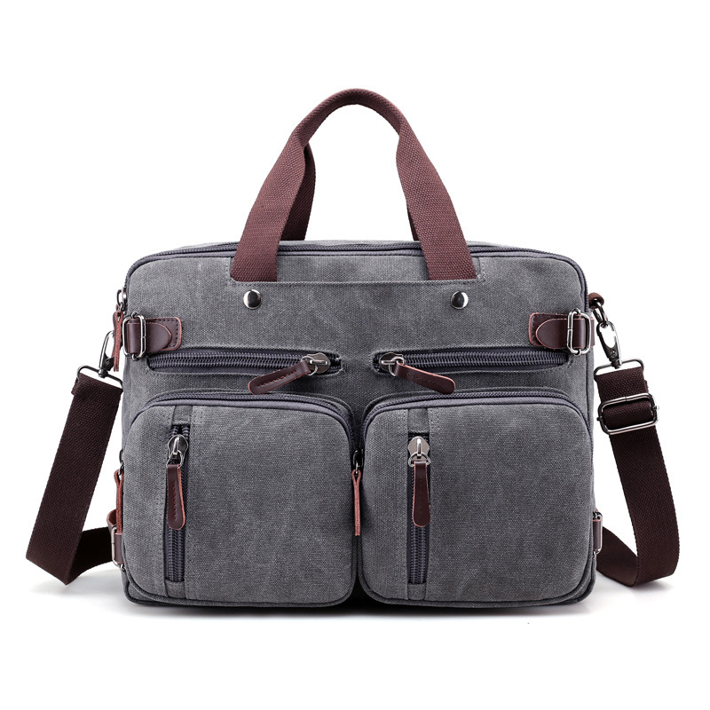 2019 Men's Canvas Briefcase Vintage Handbag Large Men Casual Messenger Shoulder Bag Pocket Multifunct Business Laptop Travel Bag