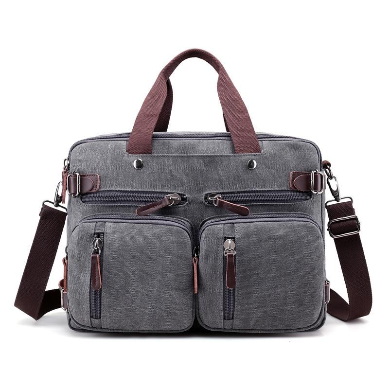 2019 Men's Canvas Briefcase Vintage Handbag Large Men Casual Messenger Shoulder Bag Pocket Multifunct Business Laptop Travel Bag