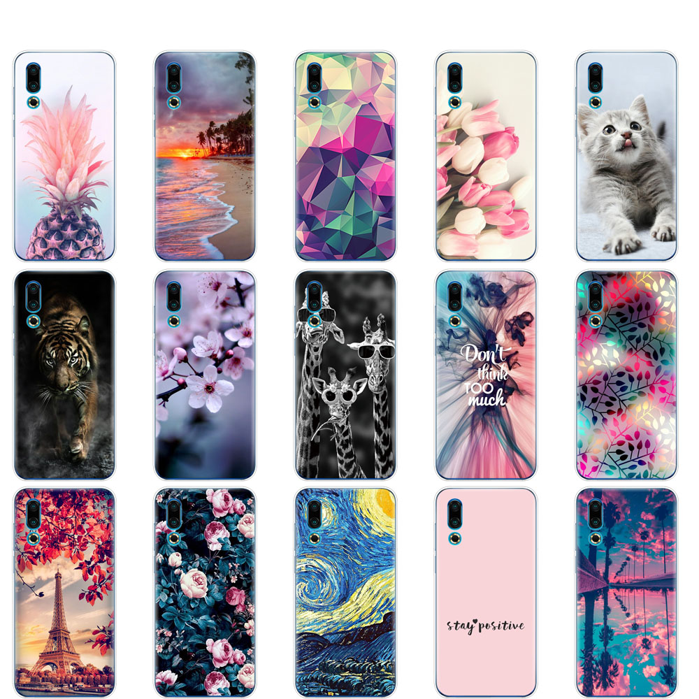 case For <font><b>Meizu</b></font> 16S Case cover 6.2'' Soft TPU Silicon bumper on For <font><b>Meizu</b></font> 16s <font><b>16</b></font> S Slim Coque shockproof copa cute animal image