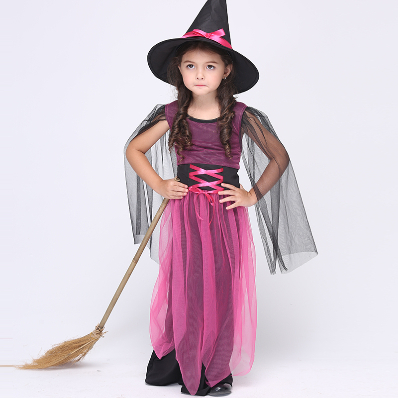Witch Halloween Costume for Kids Long Dress Mesh Children Fancy Show Cosplay Costumes with Hat Children Party Girls Clothing 4pcs gothic halloween artificial devil vampire teeth cosplay prop for fancy ball party show