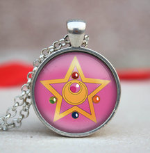 2017 New Pink Sailor Moon Star Pendent Necklace Anime Jewelry Link Chain Women Necklaces Glass Cabochon Pendants