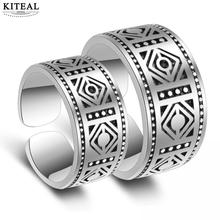 Kiteal 925 jewelry Couple Rings Totem Classic black Retro Carving Opening Thai Silver vintage For Men and Wmen S-R37