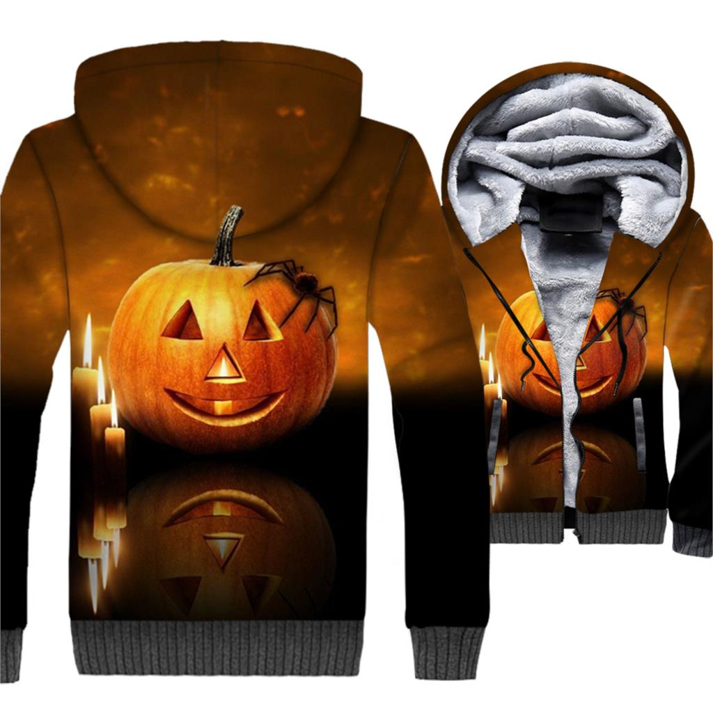 Happy Halloween Jacket Pumpkin Hoodie Men Funny All Saints' Day Sweatshirt Winter Thick Fleece Warm 3D Print Jack-O-Lantern Coat