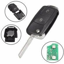 2 кнопка Удаленное брелок случае 433 мГц ID48 чипы для VW/жук/Bora/Гольф/ passat/Мужские поло/транспортер T5 1J0 959 753 AG