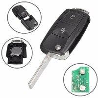 2 Nút Lật Từ Xa Key Fob Trường Hợp 433 MHz ID48 Chip Cho VW/Beetle/Bora/Golf/Passat/Polo/Transporter T5 1J0 959 753 AG